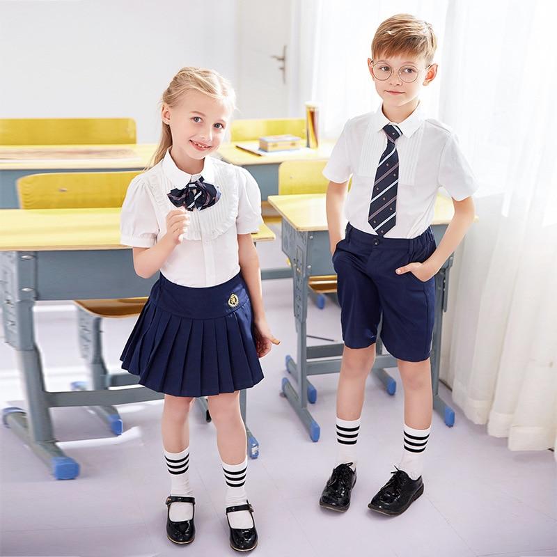 Kids Kindergarten Uniforms Girls Summer School Wear Children's School Uniform Primary Class Wear Boys Girls Chorus Suits D-0631