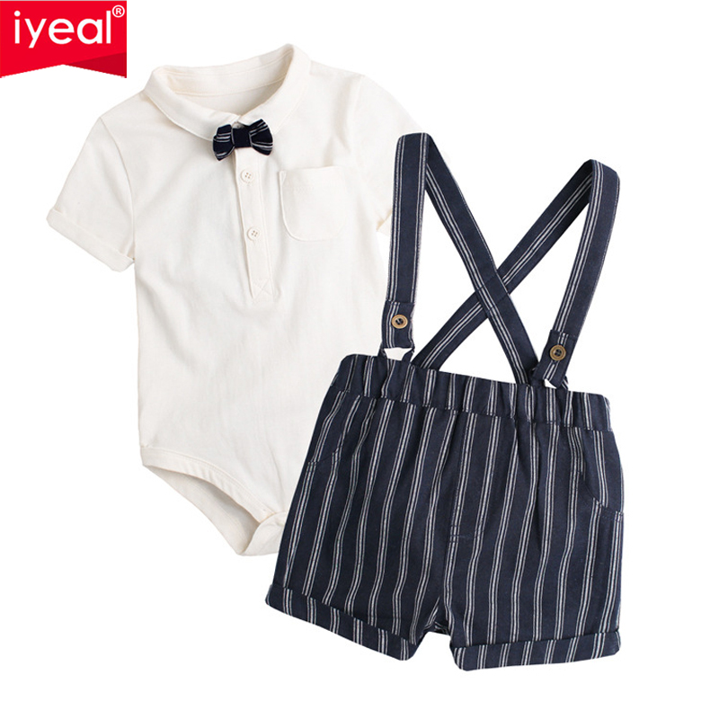 IYEAL 2018 Summer Baby Boy Clothing Set 2 Pieces/Set Gentleman Design Costumes Newborn Romper + Overalls Suits Kids Boys Clothes summer boys handsome gentleman suits 2018 summer new baby boy clothes set 1 3 years striped summer children clothing