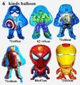 6 шт./лот Мстители фольгированные шары super hero baby игрушки халк Капитан Америка супермен бэтмен Железный человек человек-паук гелия шары