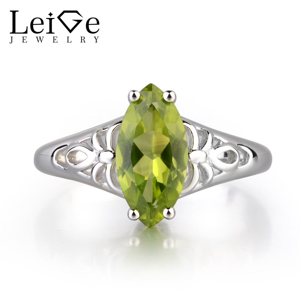 Leige Jewelry Genuine Peridot Green Color Gemstone Marquise Shape Solitaire Ring For Girl Wedding Bands August Birthstone Gifts