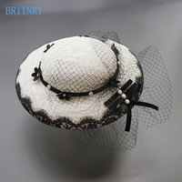 BRITNRY Handmade Bridal Hat Lace Flowers with Tulle Vintage Fascinator Hats Wedding Evening Party Wedding Accessories