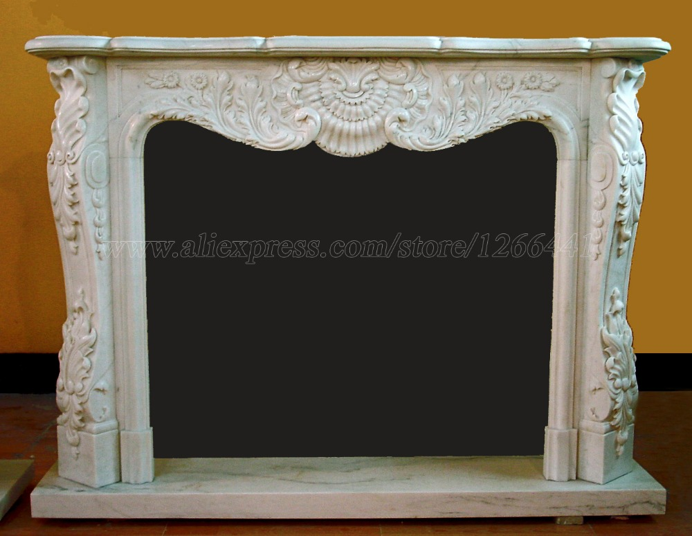 baroque style carved stone fireplace mantel custom made living room fireplace - Antique Fireplace Mantels