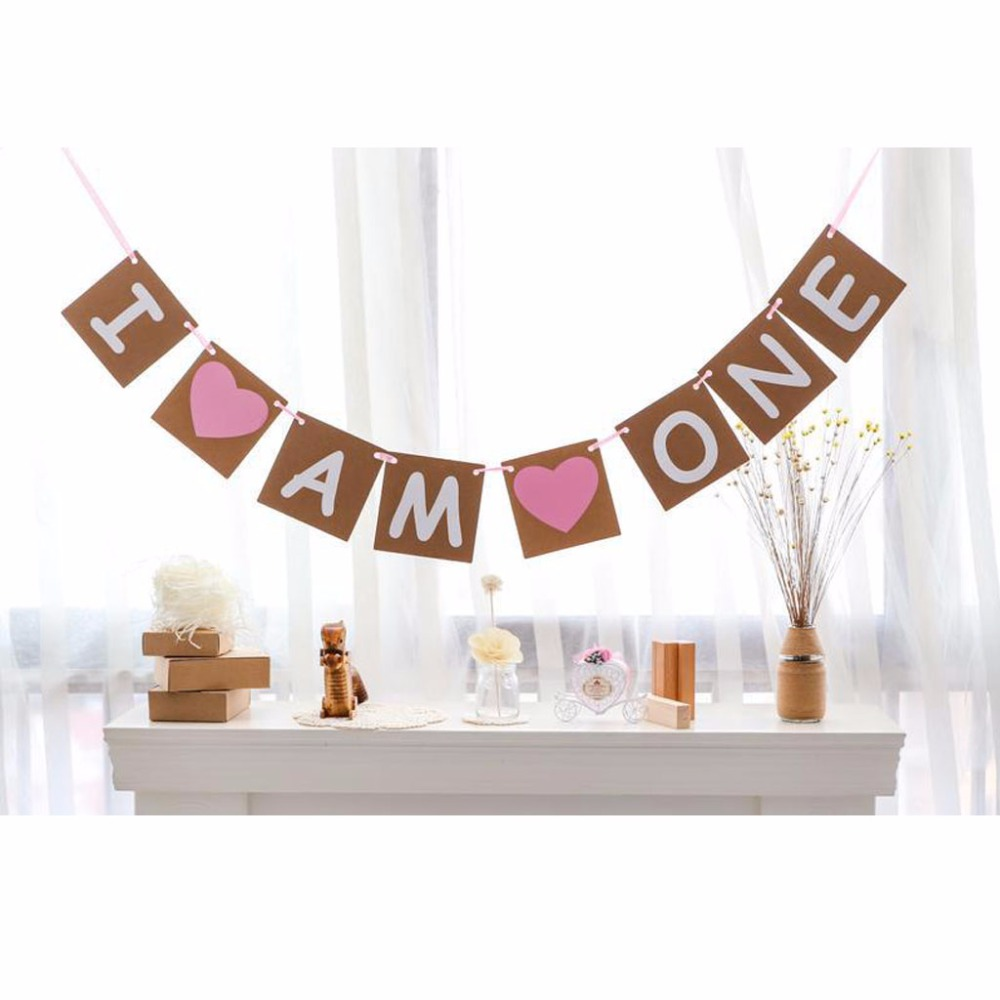 Buy rustic i am one pink bunting banner for Baby girl first birthday decoration