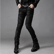 Wholesale 2016 New unique Men Fashion Runway Black hiphop boy Cargo Biker pants Jean Skinny wrinkle