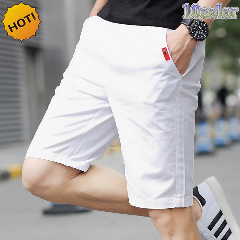 NEW 2019 Summer Thin Cheap Regular 100%Cotton Cheap Menswear Casual Men Sweatpants Beach Solid Straight Slim Fit Short Trousers
