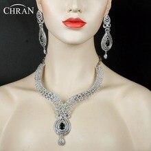 CHRAN Elegante Rodio Plateado Joyería de La Boda Accesorios de Cristal de Circón de Lujo Joyería Nupcial India Establece para Las Mujeres