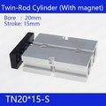 TN20 * 15-S Бесплатная доставка 20 мм диаметр 15 мм Ход Компактный воздушный цилиндр TN20X15-S двойного действия Воздушный пневматический цилиндр