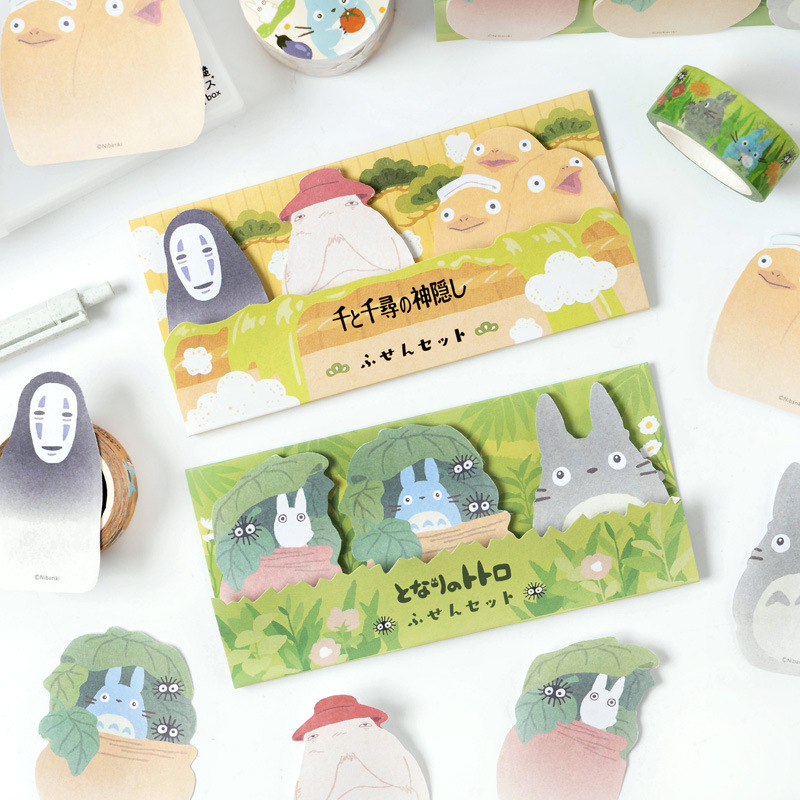 Novelty Kawaii Spirited Away No Face Man My Neighbor Totoro Memo Pad N Times Sticky Notes School Supply Bookmark Label(China)