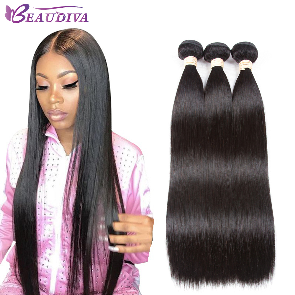 2019 Beaudiva Straight Hair Bundles Brazilian Hair Weave Bundles 100% Human Hair Bundles Non Remy Hair Weave 1/3/4 Pieces(China)