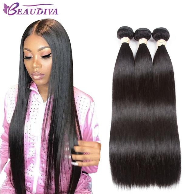 Paquetes de pelo lacio 2019 Beaudiva paquetes de tejido de cabello brasileño 100% paquetes de cabello humano no Remy 1/3 /4 piezas