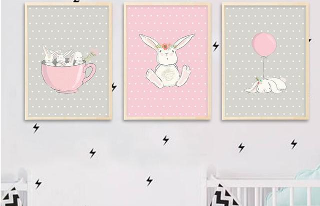 Aliexpress.com : Buy Cute Pink Rabbit Bunny Wall Art Canvas Posters ...