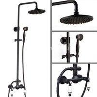 8 Round Rain Shower Head Oil Rubbed Bronze Dual Ceramics Handles Wall Mounted Bathroom Rainfall Shower