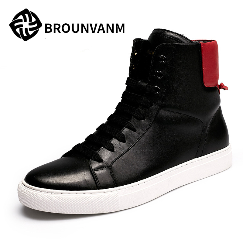New high shoes casual leather shoes 2017 color Kobron fashion shoes trend of Korean men boots 2017 new autumn winter british retro men shoes zipper leather breathable sneaker fashion boots men casual shoes handmade