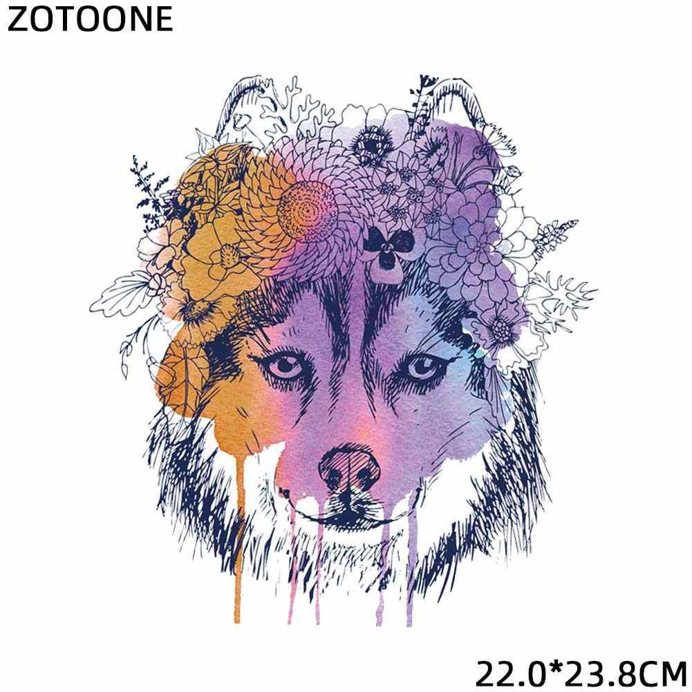 ZOTOONE acuarela Lobo perro gato Transferencia de Calor parches para ropa apliques DIY lindo parche conjunto Animal hierro en camiseta impresa G