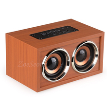 цена на Wireless Bluetooth Speaker Wooden Stereo Speaker 10W Box Mini Music Player with Two Speakers Bluetooth TF Card Hands-free AUX-IN