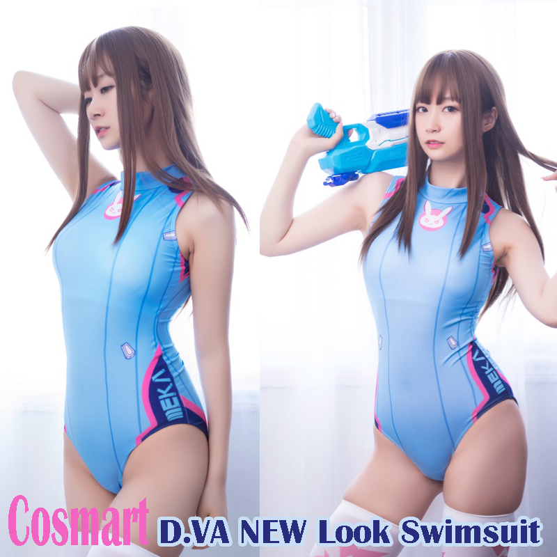 [Limit STOCK]Game OW <font><b>DVA</b></font> D.VA NEW LOOK <font><b>Sexy</b></font> Swimsuit Lycra One piece Swim wear <font><b>Cosplay</b></font> costumes for women 2017 free shipping image