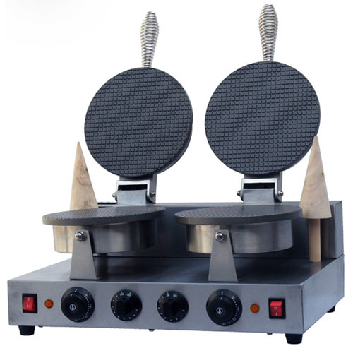 220V Electric Non-stick double Head ice cream waffle cone baker/waffle  cake Ice Cream Cone Maker /CONE SHAPE WAFFLE BAKER/ directly factory price commercial electric double head egg waffle maker for round waffle and rectangle waffle