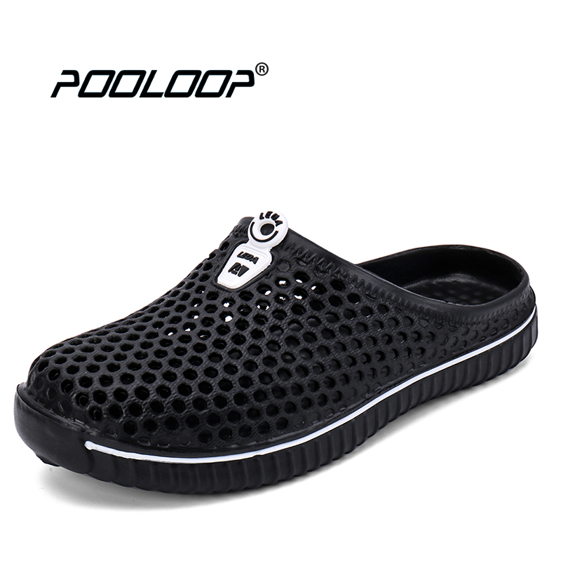 POOLOOP Comfortable Men Pool Sandals Summer Outdoor Beach Shoes men Slip On Garden Clogs Casual Water Shower Slippers Unisex sports earphones earhook wired earphone waterproof stereo music for xiaomi iphone5 6 7plus huawei android ios phone mp3 computer