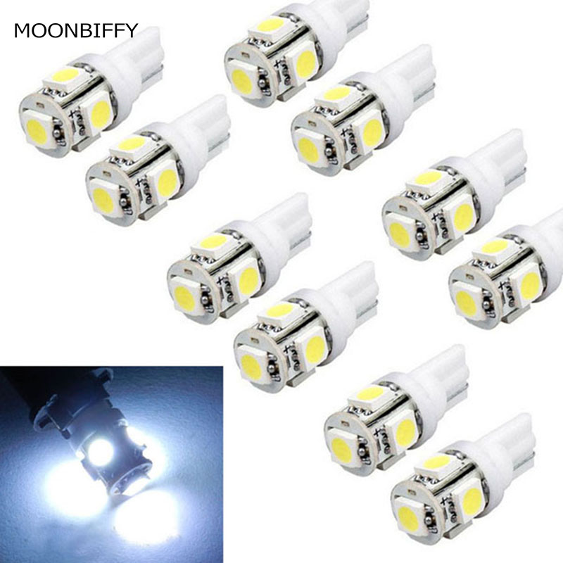 MOONBIFFY Hot 10pcs Car Interior Light T10 Wedge 5-SMD 5050 Xenon LED Light bulbs 192 168 194 W5W 2825 158 White safego 10pcs led t10 w5w led bulbs white 7020 10 smd 194 168 2825 wedge replacement signal trunk dashboard reverse parking lamp
