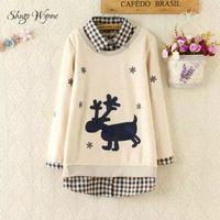 Autumn Winter Pullover New Women Mori Girl Snowflake Deer Patchwork Plaid Lapel Long Sleeve Splice Plus
