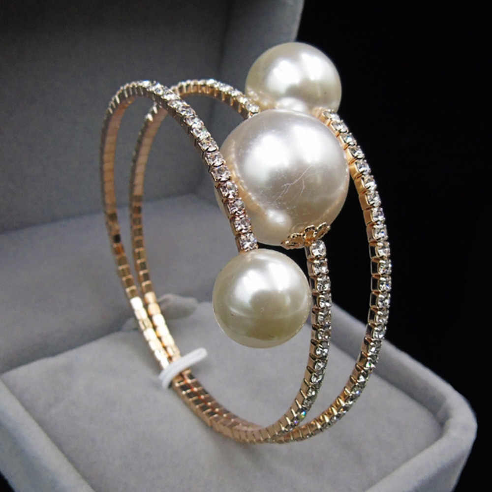 New Wedding Jewelry Gold/Silver Plated Open Cuff Bracelets Simple Double Simulated Pearl Ball Bead Adjustable Bangles For Women