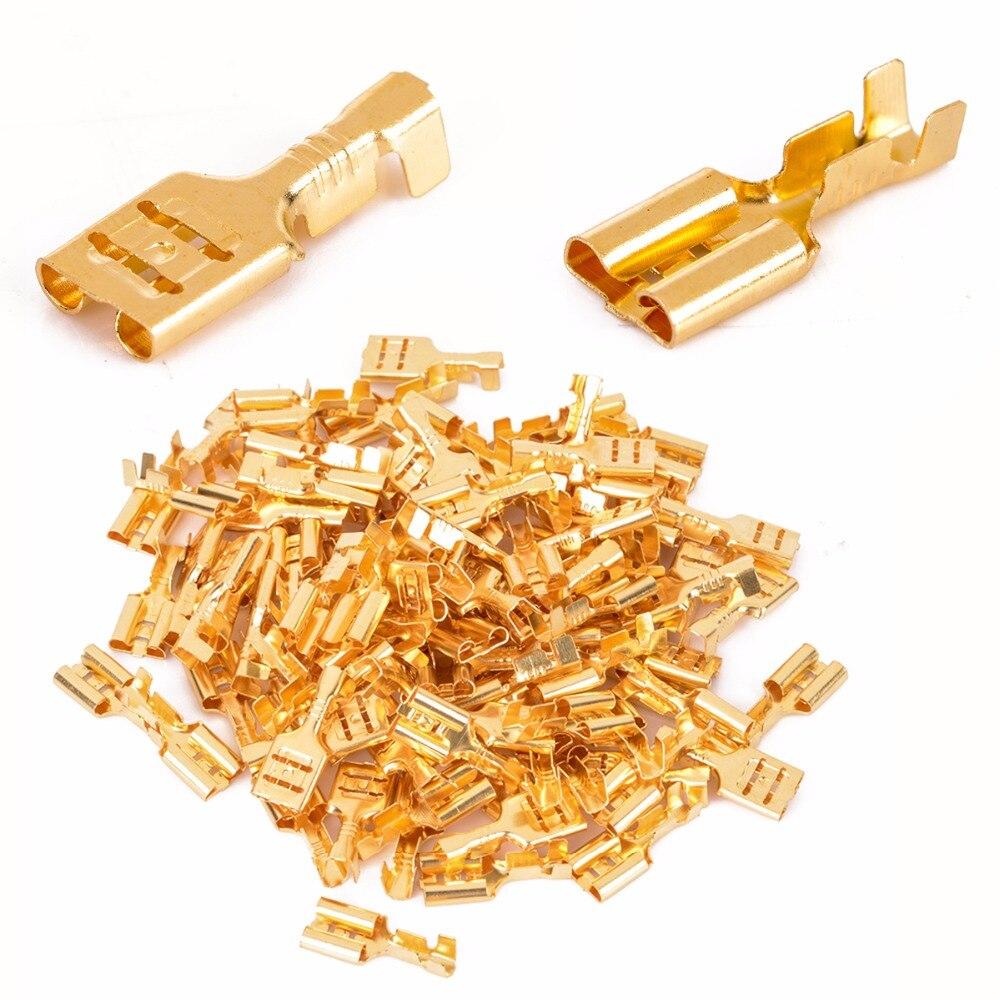 100 pcs 6.3 milímetros Feminino Crimp Terminal Conector de Bronze do Ouro Altofalante Do Carro Conjunto de Conectores De Fios Elétricos