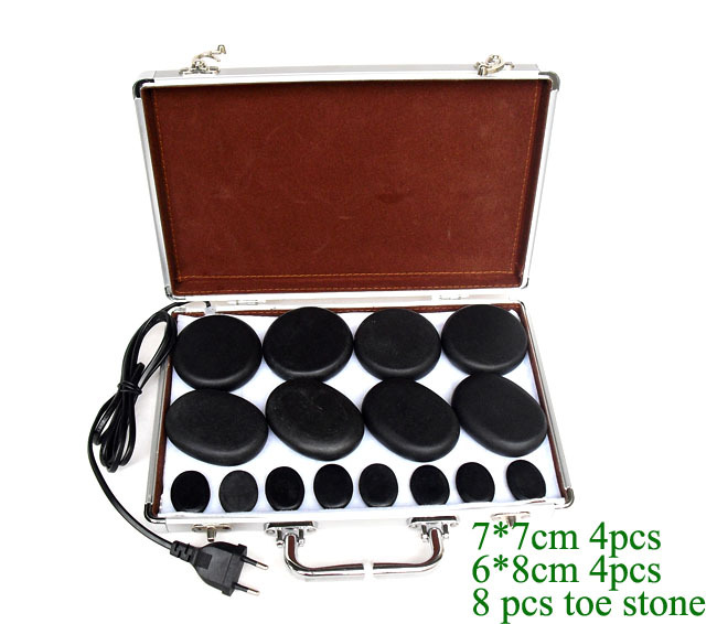 купить 16pcs /set Massage hot stones massage lava Natural stone set hot spa rock basalt stone with heater box дешево