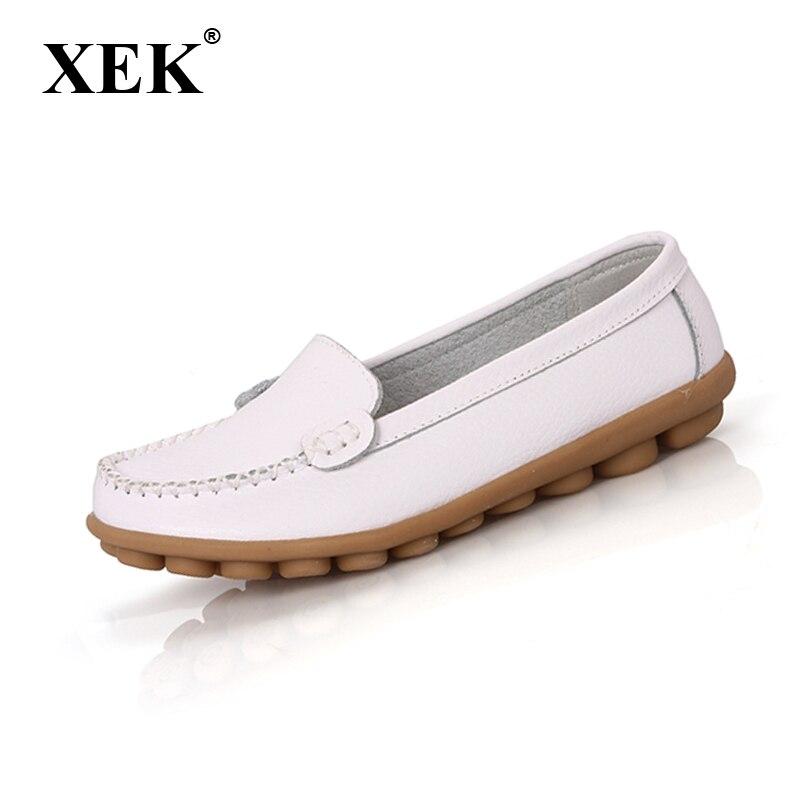 Women Genuine Leather Shoes Slip On Ballet Women Flats Comfort Shoes Woman Moccasins Sapatilhas Femininos FL011