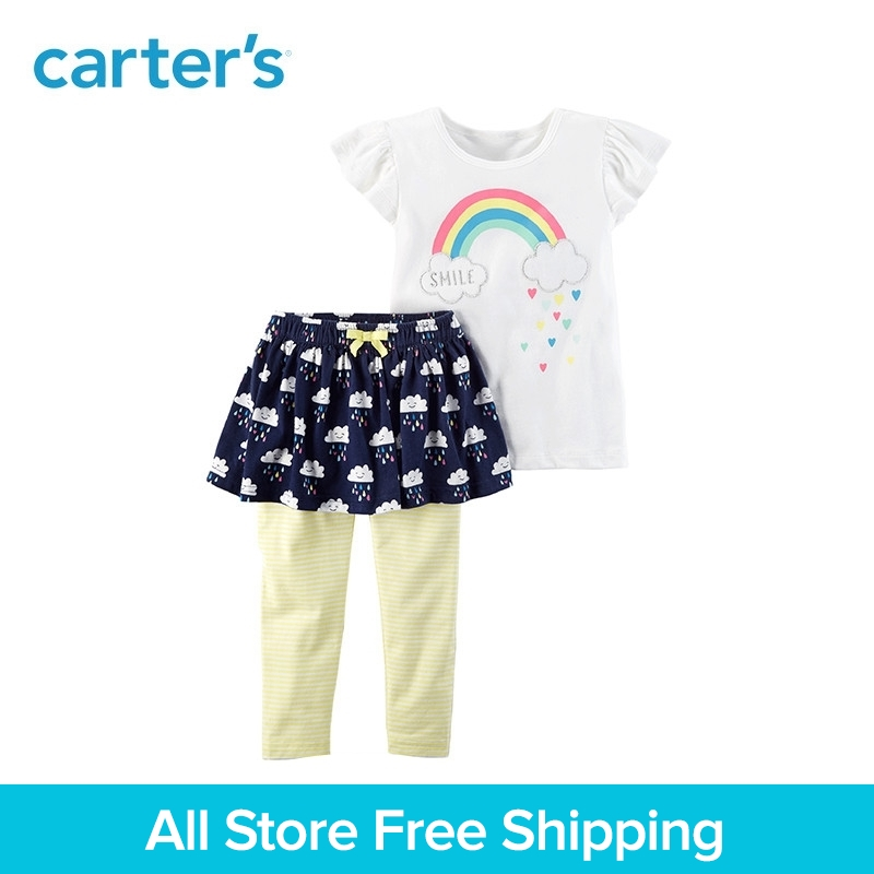 Carter's 2-Piece baby children kids clothing Girl summer Flutter Top & Skegging Set 239G601 flutter sleeve mesh overlay top