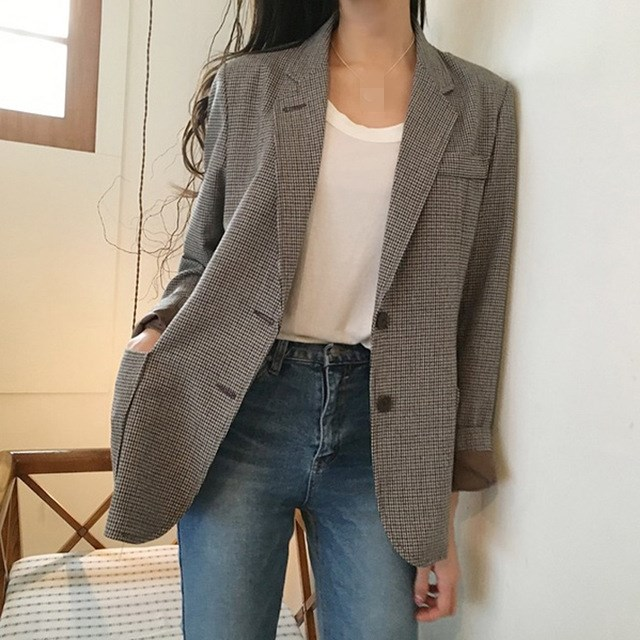 2019 New Autumn Korean BF Plaid Office Lady Blazer Jacket Vintage Single Breasted Work Suit Elegant Loose Cotton Jacket Outwear