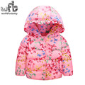 Retail 3-10 years children Down jacket printing butterfly full-sleeves Keep warm coat kids spring autumn fall winter