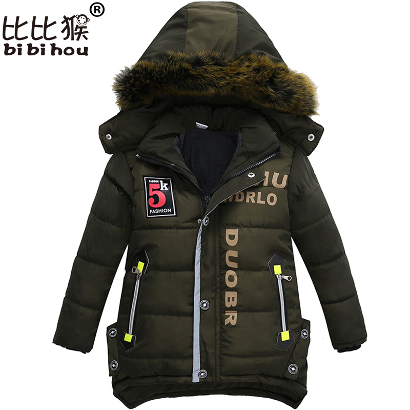 Bibihou New Boys Parka Snowsuit Children Jackets Warm Boys Clothes Kids Baby Thick Cotton Down Jacket Cold Winter Coat Outwear new 2017 men winter black jacket parka warm coat with hood mens cotton padded jackets coats jaqueta masculina plus size nswt015