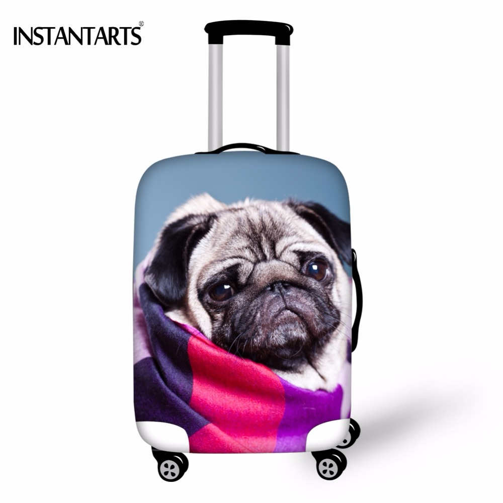 INSTANTAR Travl On Road Cute Pug Dog Print Thick Luggage Protector Covers for 18-30 Inch Suitcase Elastic Case Dust Rain Cover ...