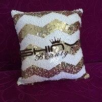 Deux Visage Entièrement Sequin Coussin Couverture Lumière Or Blanc Chervon Literie Siège Taie d'oreiller Décoration 40x40 cm