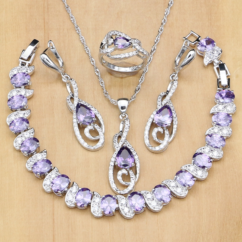 luxury Jewelry Sets Natural Purple Cubic Zirconia Silver 925 Jewelry For Women Anniversary Earrings Europeans Necklace Sets