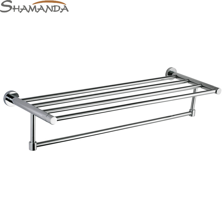 Free Shipping Fashion Modern Bathroom Accessories Products Solid Brass Chrome Finished Double-Decks Towel Rack,Towel Bar-96011 okaros bathroom double towel bar 60cm towel rack towel holder solid brass golden chrome plating bathroom accessories