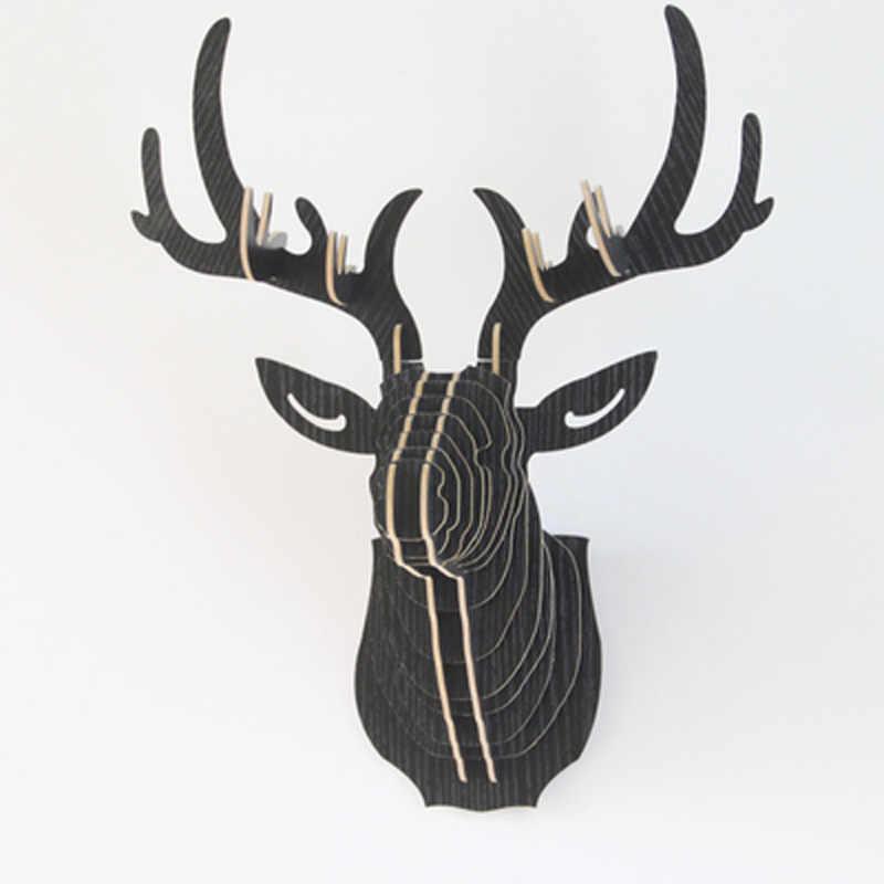 6色diy木製動物鹿ヘッドウォールぶら下げクリエイティブ木材ホーム壁の装飾mdf工芸アート3d壁の装飾送料無料