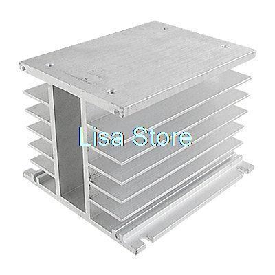 цена на SSR 3 Phase Solid State Relay Heat Sink Silver Tone Aluminum Heatsink