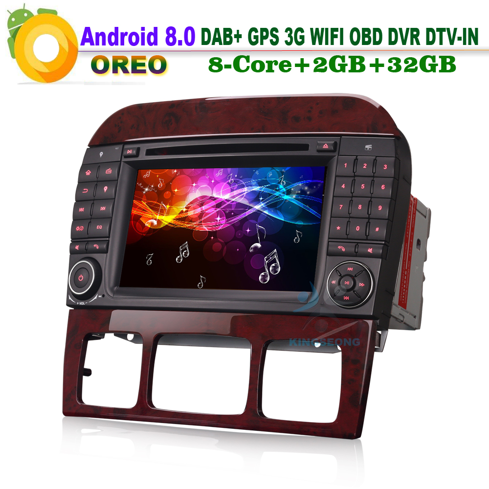 8-Core Android 8.0 DAB+ Car Stereo GPS 3G Bluetooth RAM WiFi DVR DTV-IN Car CD player for Mercedes-Benz S-Class CL-Class W215