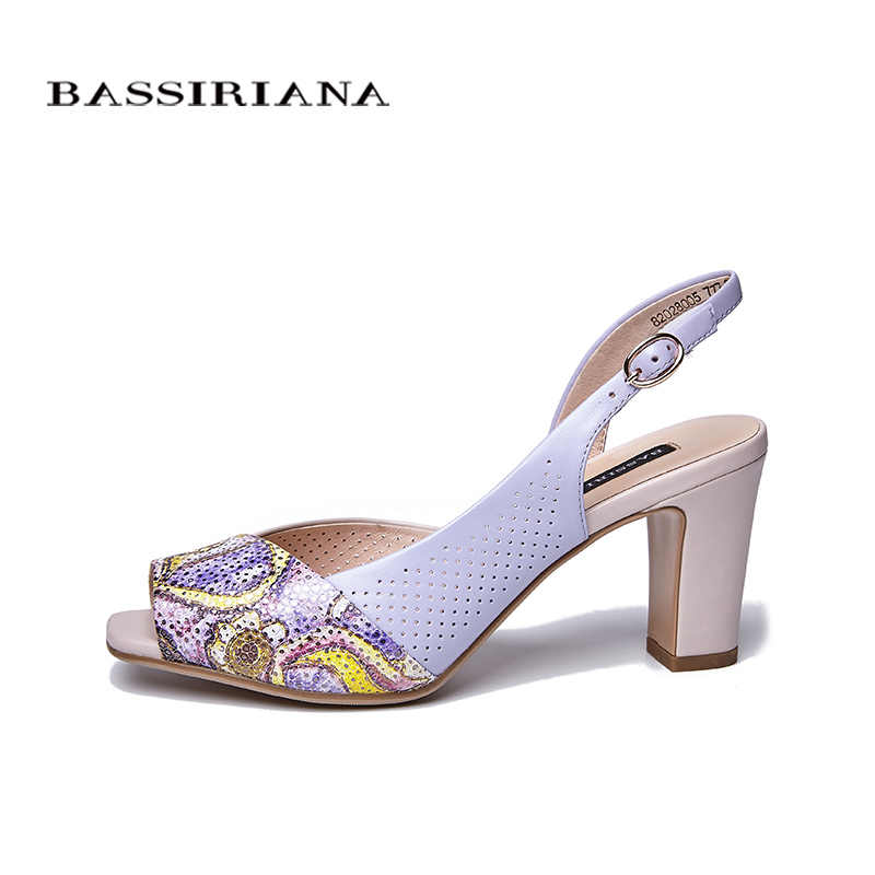 High 41 Shoes Peep 36 Heels New Prints Size For Purple Brown Leather Ladies 2018 Sandals Bassiriana Summer Toe Genuine Women Sq5cAj43RL