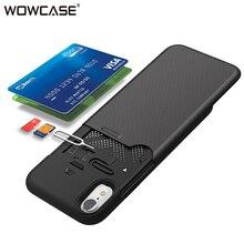 Для iPhone XS MAX XR случае WOWCASE Бумажник Кредитная держатель для карт задняя крышка для iPhone X XS MAX XR случае защиты роскошный принципиально Coque