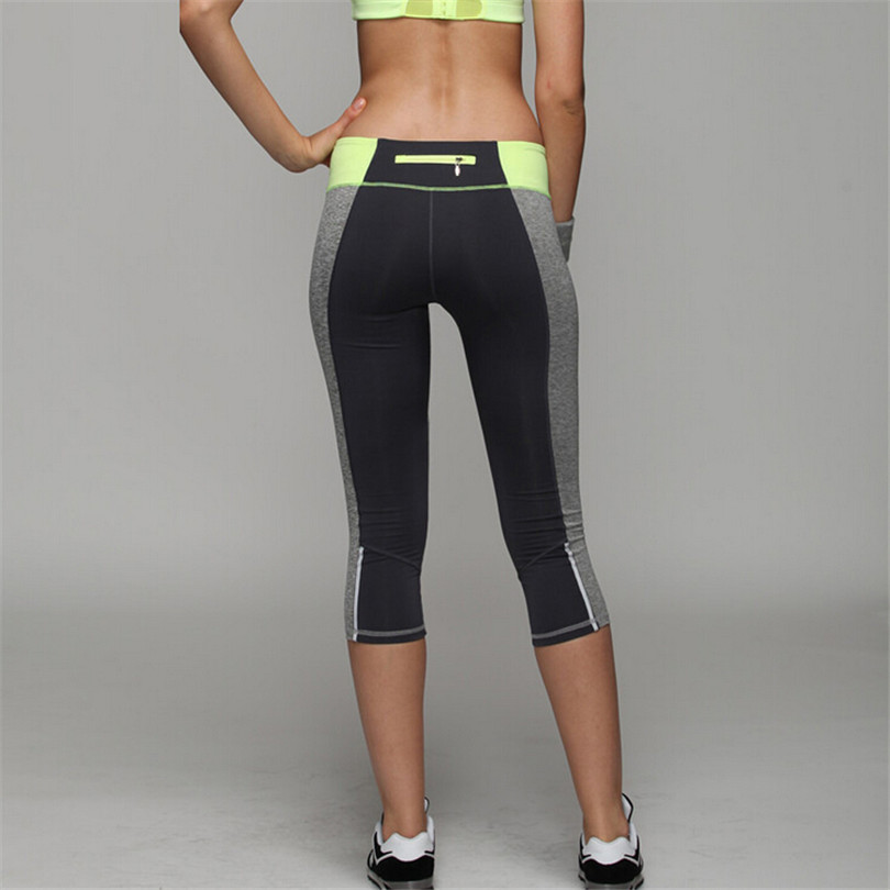 Women High Elastic Fitness Sport Leggings Yoga Pants Slim Running Tights Sportswear Sports Calf-length Pants Trousers Clothing