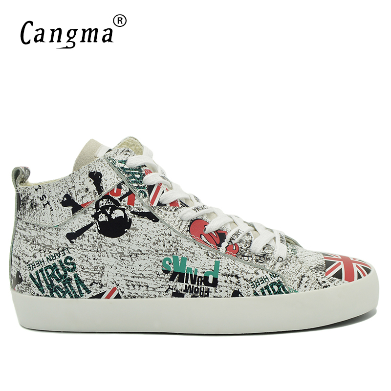 CANGMA Designer Man's Printing Lace Up Casual Shoes Mid Genuine Leather Sneakers Men British Flag White Footwear Male Flat Shoes цена