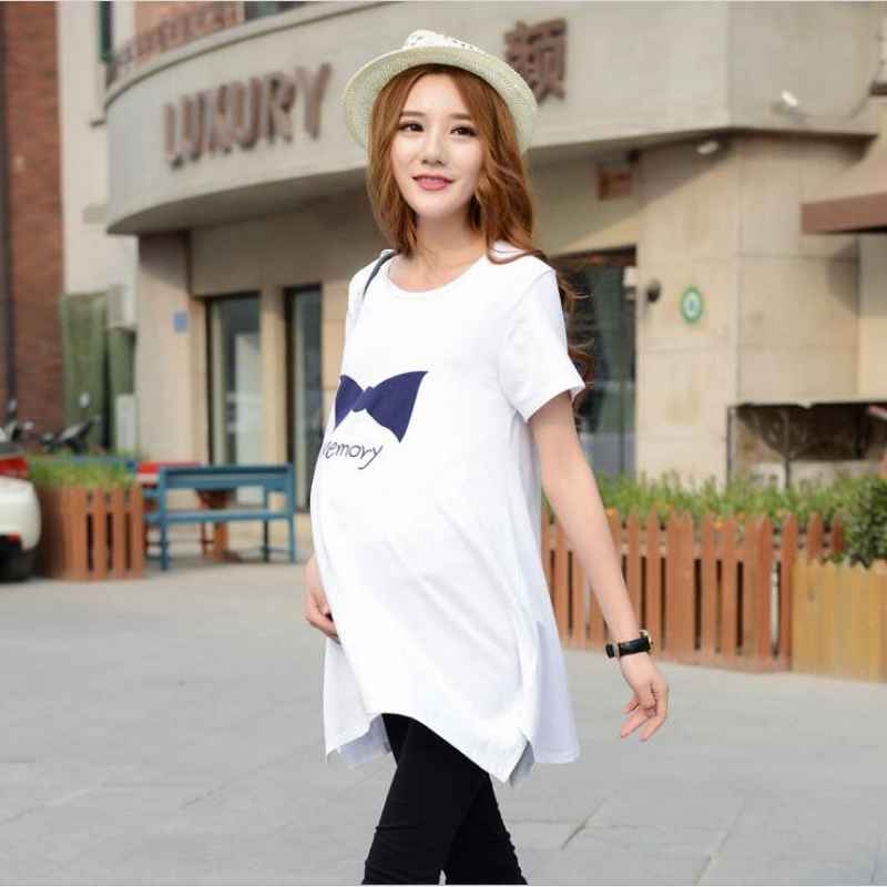 2018 Maternity Clothes Summer New Arrival Print Cotton Short Sleeve Summer Dress Fashion Loose Pregnant Women Dress