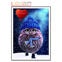 Diamond Embroidered 5D Diy Diamond Drawing Owl Cross Stitch Beautiful Blue Owl Animal Decoration 3D Full. LUOVIZEM L150 bowknot owl print draw diamond drawing