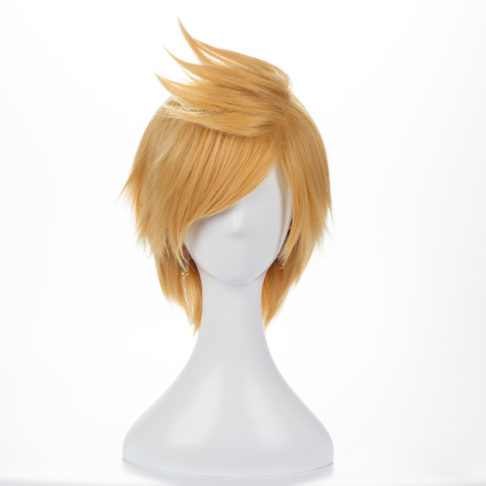 12inch Short Fluffy Layered Men's Blonde Synthetic Wig FF15 <font><b>Final</b></font> <font><b>Fantasy</b></font> <font><b>XV</b></font> <font><b>Prompto</b></font> Argentum <font><b>Cosplay</b></font> Wig+Wig Cap image