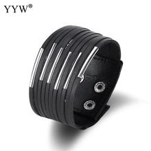 Hot Sale Genuine Top Layer Leather Wrap Bracelet High Quality Trendy Jewelry For Men Fashion Pulseira