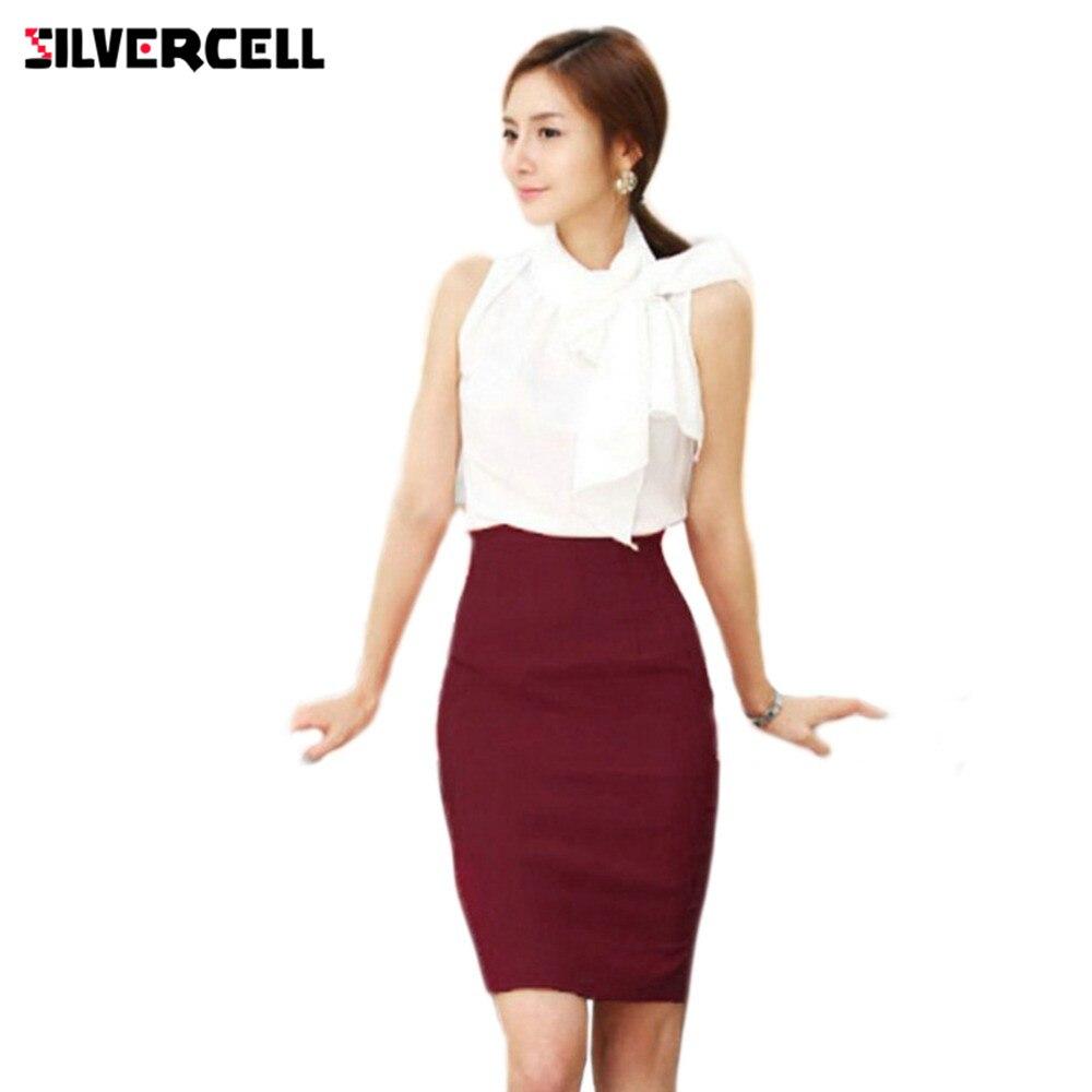 Silvercell女性スリムフィット膝丈スカートolスタイルストレートペンシルスカートファッション女性ミディスカートハイウエストキャリアスカート