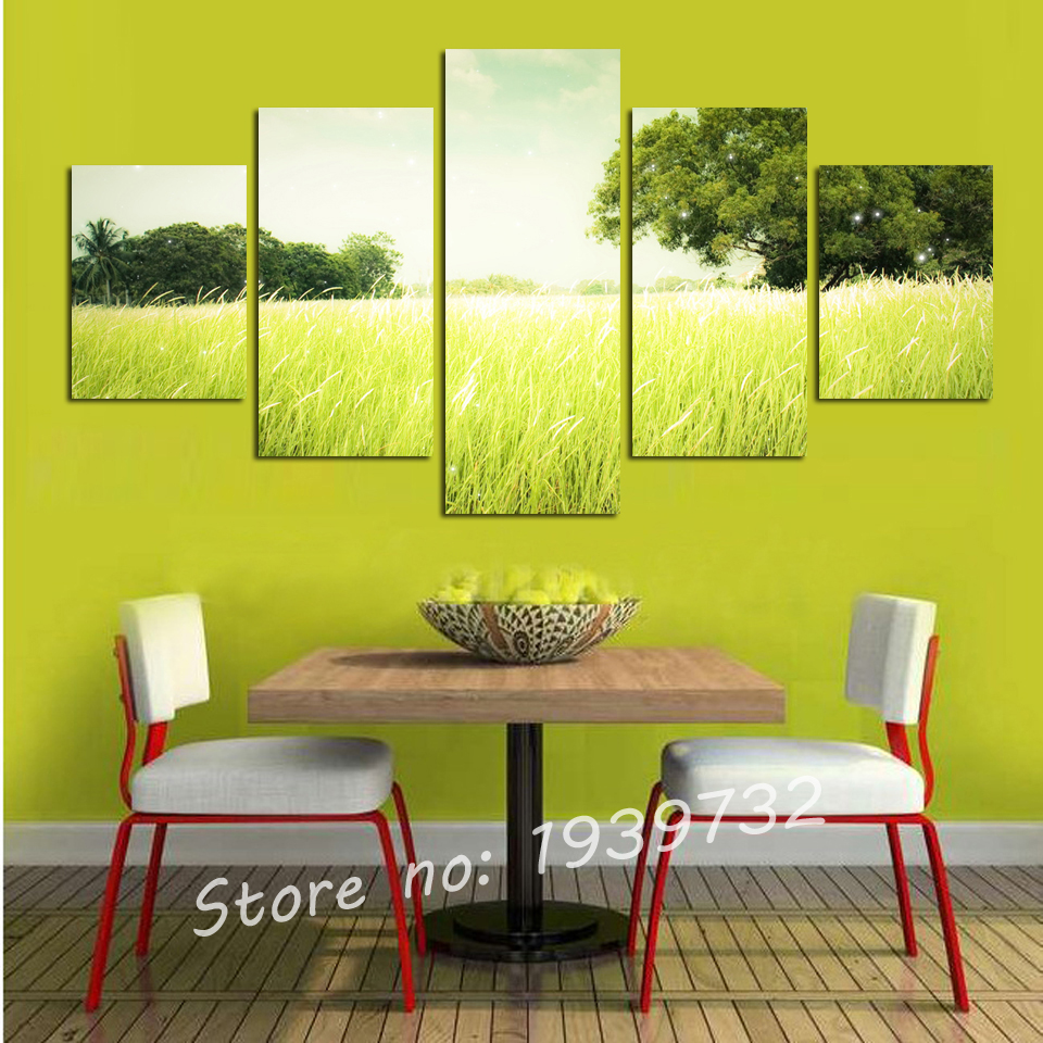 5 Panel Tree Paddy Fields print Picture Cuadros Wall Art Landscape ...