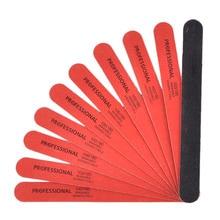 Деревянная пилочка для ногтей, 10 шт, черная и красная шлифовальная полоска 100/180 зернистости, профессиональные пилочки для маникюра, инструменты для маникюра